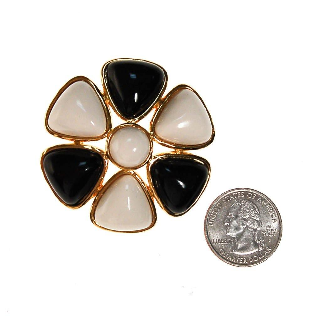 Miss Valentino Black and White Brooch