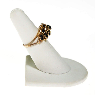 Black Onyx and Gold Tone Ring by Unsigned Beauty - Vintage Meet Modern - Chicago, Illinois