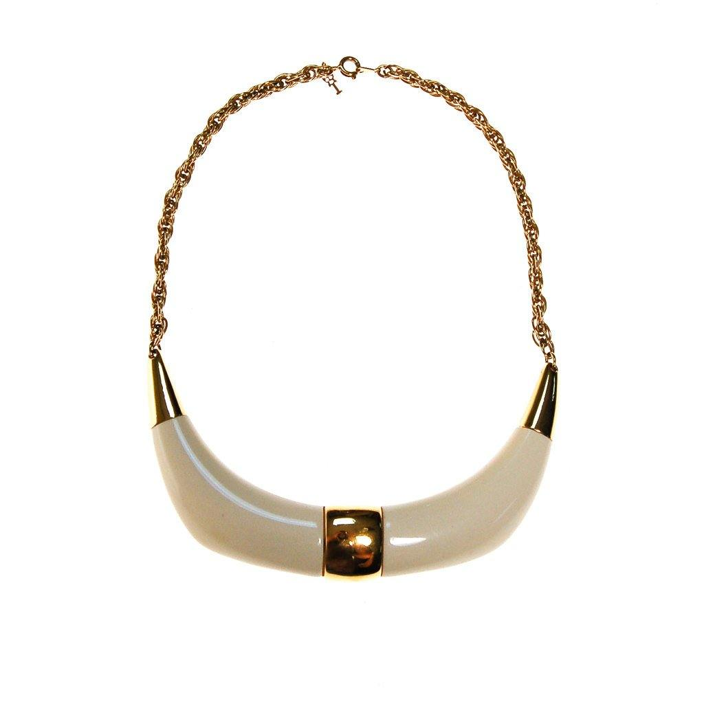 Crown Trifari Cream Lucite and Gold Tone Statement Necklace