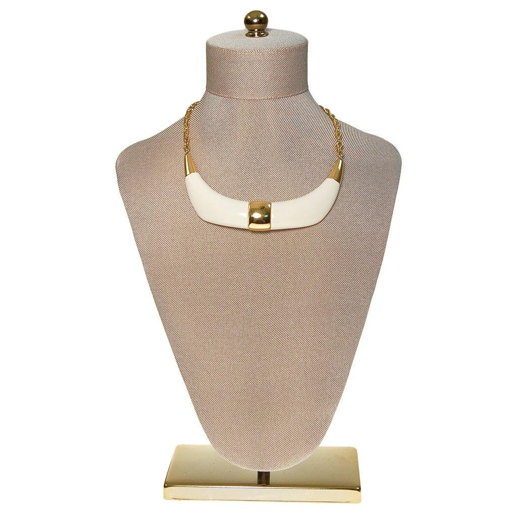 Crown Trifari Cream Lucite and Gold Tone Statement Necklace, Necklace - Vintage Meet Modern