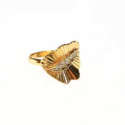 Gold Fluted Ring with Rhinestones by 1960s - Vintage Meet Modern Vintage Jewelry - Chicago, Illinois - #oldhollywoodglamour #vintagemeetmodern #designervintage #jewelrybox #antiquejewelry #vintagejewelry