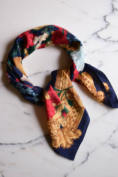 Colorful Floral Scarf by Liz Claiborne by Liz Claiborne - Vintage Meet Modern Vintage Jewelry - Chicago, Illinois - #oldhollywoodglamour #vintagemeetmodern #designervintage #jewelrybox #antiquejewelry #vintagejewelry