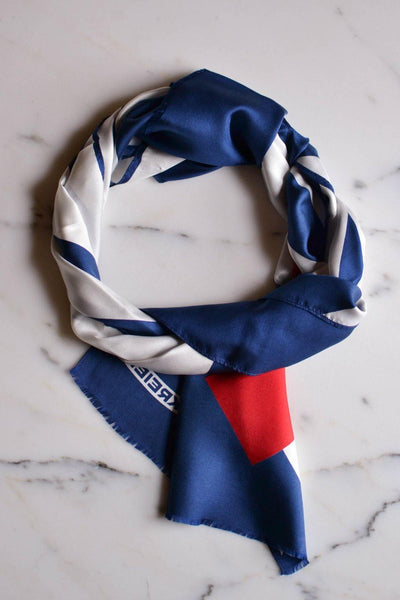 Red, White and Blue Silk Scarf by Kreier made for Marshall Fields, Scarf - Vintage Meet Modern