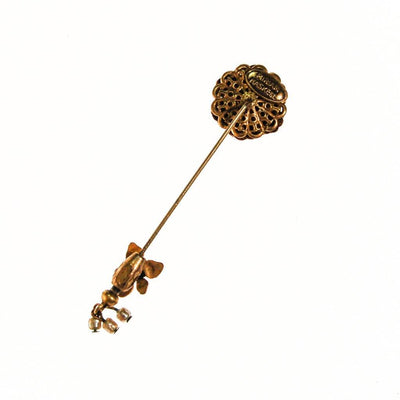 Miriam Haskell Gold Flower Stick Pin by Miriam Haskell - Vintage Meet Modern Vintage Jewelry - Chicago, Illinois - #oldhollywoodglamour #vintagemeetmodern #designervintage #jewelrybox #antiquejewelry #vintagejewelry