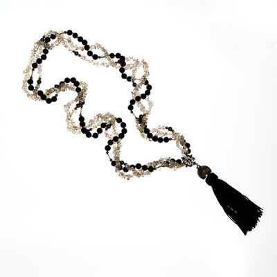 Black Bead and Quartz Crystal and  Long Tassel necklace by unsigned - Vintage Meet Modern Vintage Jewelry - Chicago, Illinois - #oldhollywoodglamour #vintagemeetmodern #designervintage #jewelrybox #antiquejewelry #vintagejewelry