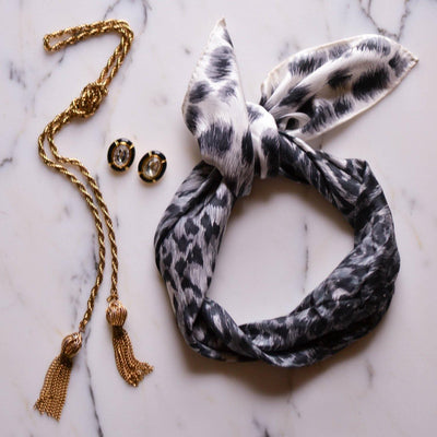 Black and White Leopard Silk Scarf by Echo by Echo - Vintage Meet Modern - Chicago, Illinois
