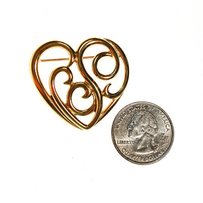 Gold Monet Heart Brooch by Monet - Vintage Meet Modern Vintage Jewelry - Chicago, Illinois - #oldhollywoodglamour #vintagemeetmodern #designervintage #jewelrybox #antiquejewelry #vintagejewelry