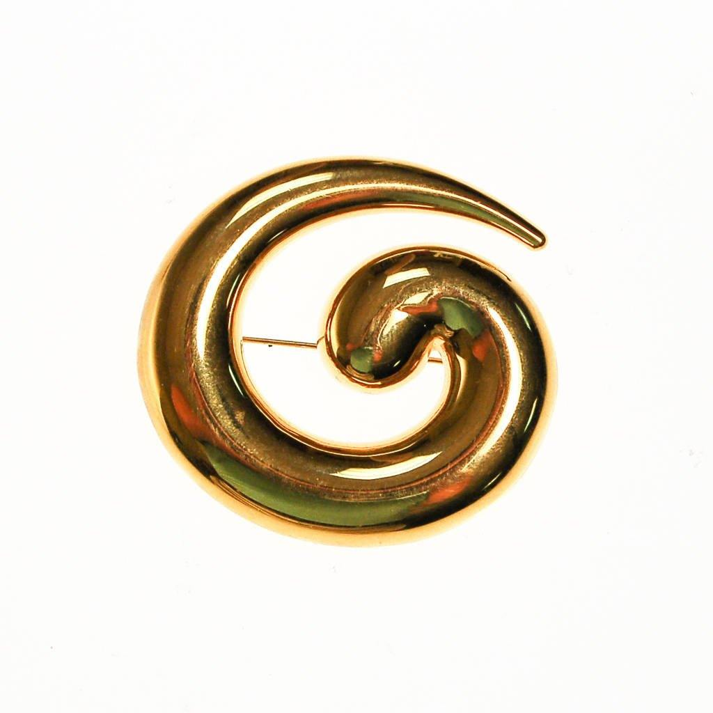 Gold Monet Brooch, Swirl, Modern, Abstract Designer