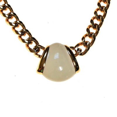 Gold Monet Necklace with Cream Pendant, Classic design by Monet - Vintage Meet Modern Vintage Jewelry - Chicago, Illinois - #oldhollywoodglamour #vintagemeetmodern #designervintage #jewelrybox #antiquejewelry #vintagejewelry