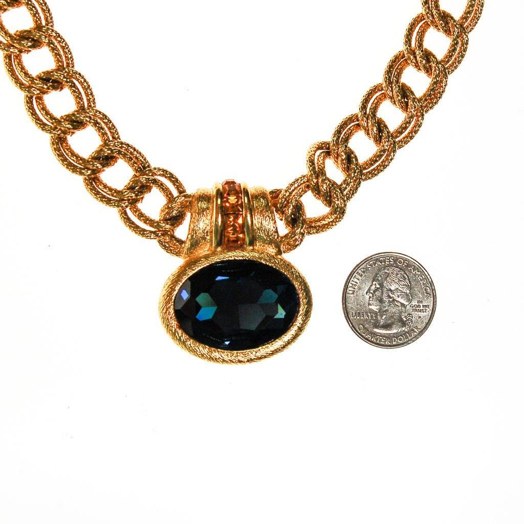 Napier Mogul Style Statement Necklace Gold with Sapphire Blue Swarovski Rhinestone and Citrine Crystal Accents