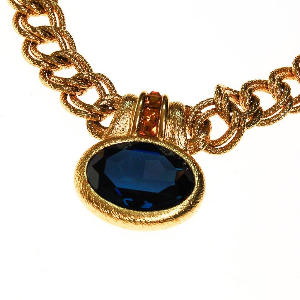 Napier Mogul Style Statement Necklace Gold with Sapphire Blue Swarovski Rhinestone and Citrine Crystal Accents, necklace - Vintage Meet Modern