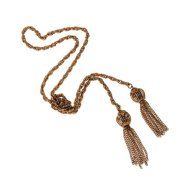 Monet Gold Tassel Lariat Necklace by Monet - Vintage Meet Modern - Chicago, Illinois