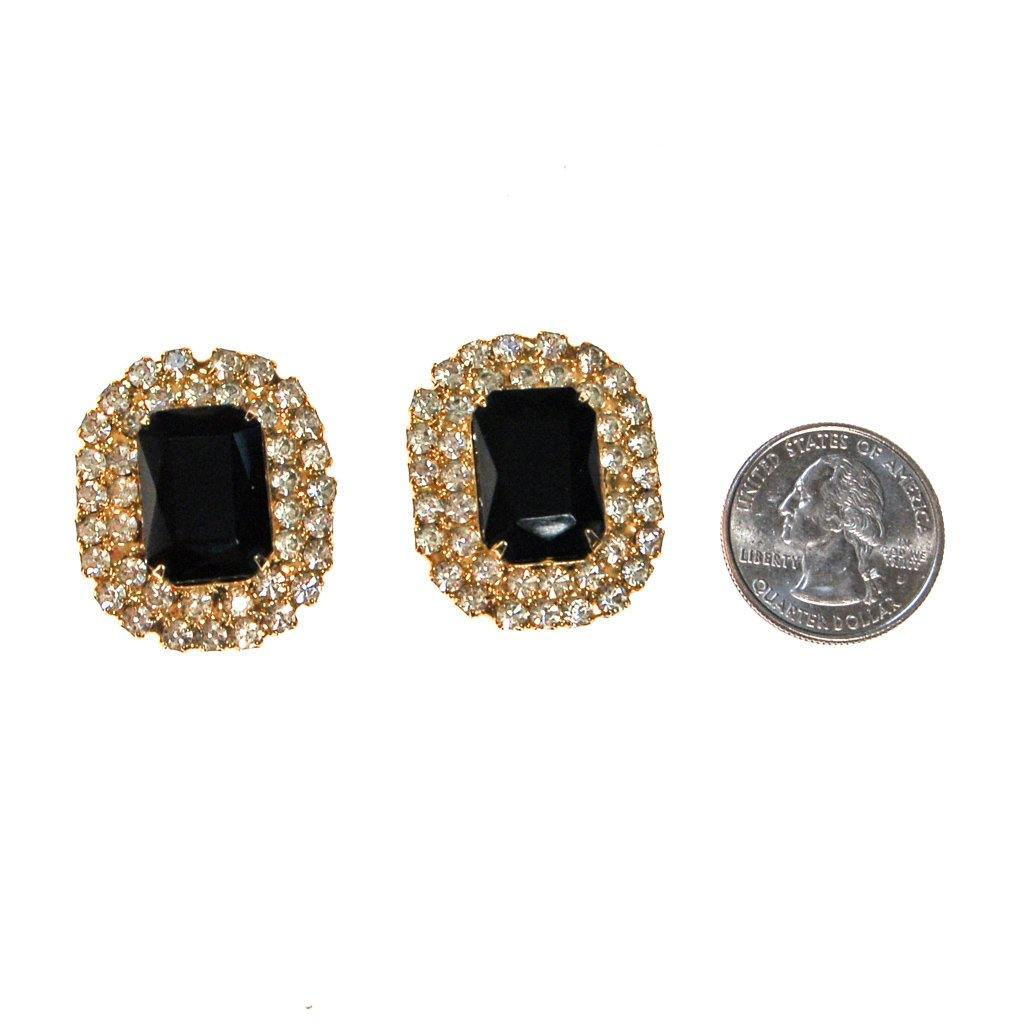 Jet Black Crystal and Rhinestone Statement Earrings