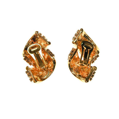 Gold Tone and Rhinestone Statement Earrings by Made in the USA - Vintage Meet Modern - Chicago, Illinois