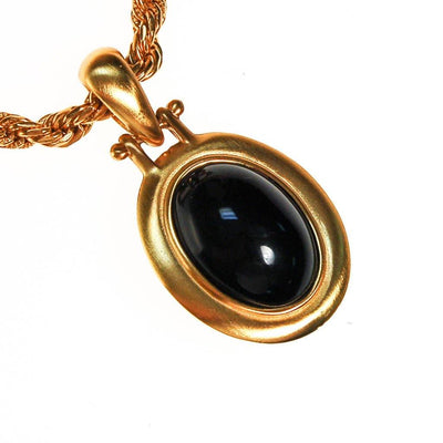 Vintage Anne Klein Couture Black Onyx Cabochon Pendant Necklace by Anne Klein - Vintage Meet Modern Vintage Jewelry - Chicago, Illinois - #oldhollywoodglamour #vintagemeetmodern #designervintage #jewelrybox #antiquejewelry #vintagejewelry