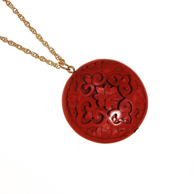 Carved Cinnabar Medallion Pendant Necklace by Chinese Export - Vintage Meet Modern - Chicago, Illinois