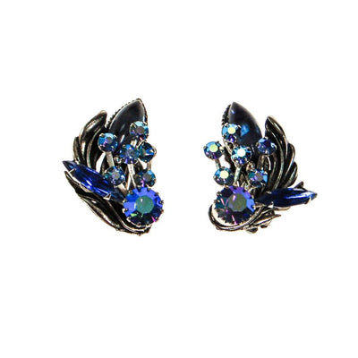 Blue Aurora Borealis Rhinestone Ear Crawler Earrings, Earrings - Vintage Meet Modern