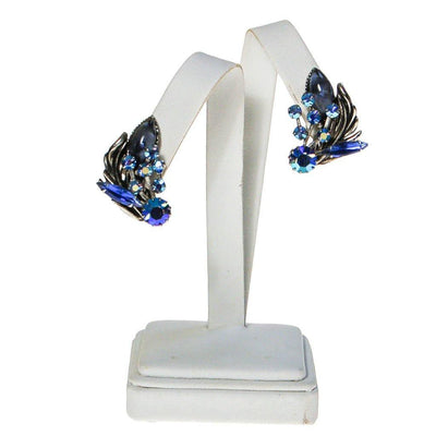 Blue Aurora Borealis Rhinestone Ear Crawler Earrings by 1950s - Vintage Meet Modern Vintage Jewelry - Chicago, Illinois - #oldhollywoodglamour #vintagemeetmodern #designervintage #jewelrybox #antiquejewelry #vintagejewelry