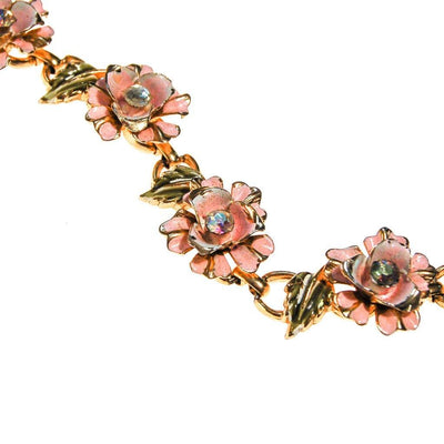Coro Pale Pink Painted Enamel Rose Bracelet with Iridescent Rhinestone Accents by Coro - Vintage Meet Modern Vintage Jewelry - Chicago, Illinois - #oldhollywoodglamour #vintagemeetmodern #designervintage #jewelrybox #antiquejewelry #vintagejewelry