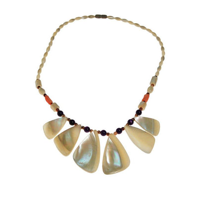 Mother of Pearl, Amethyst, and Coral Beaded Necklace by unsigned - Vintage Meet Modern Vintage Jewelry - Chicago, Illinois - #oldhollywoodglamour #vintagemeetmodern #designervintage #jewelrybox #antiquejewelry #vintagejewelry