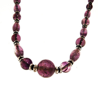 Art Deco Amethyst Crystal Bead Necklace, Hint of Jet Black by unsigned - Vintage Meet Modern Vintage Jewelry - Chicago, Illinois - #oldhollywoodglamour #vintagemeetmodern #designervintage #jewelrybox #antiquejewelry #vintagejewelry