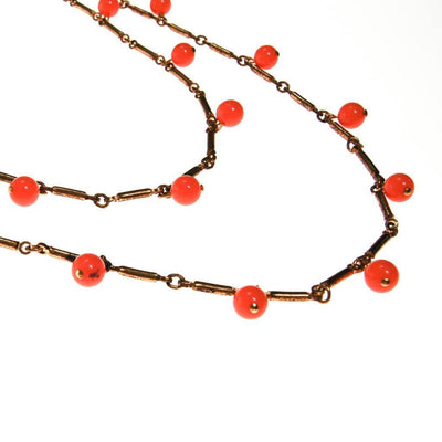 Long Gold Necklace with Coral Orange Beads that Dangle by unsigned - Vintage Meet Modern - Chicago, Illinois