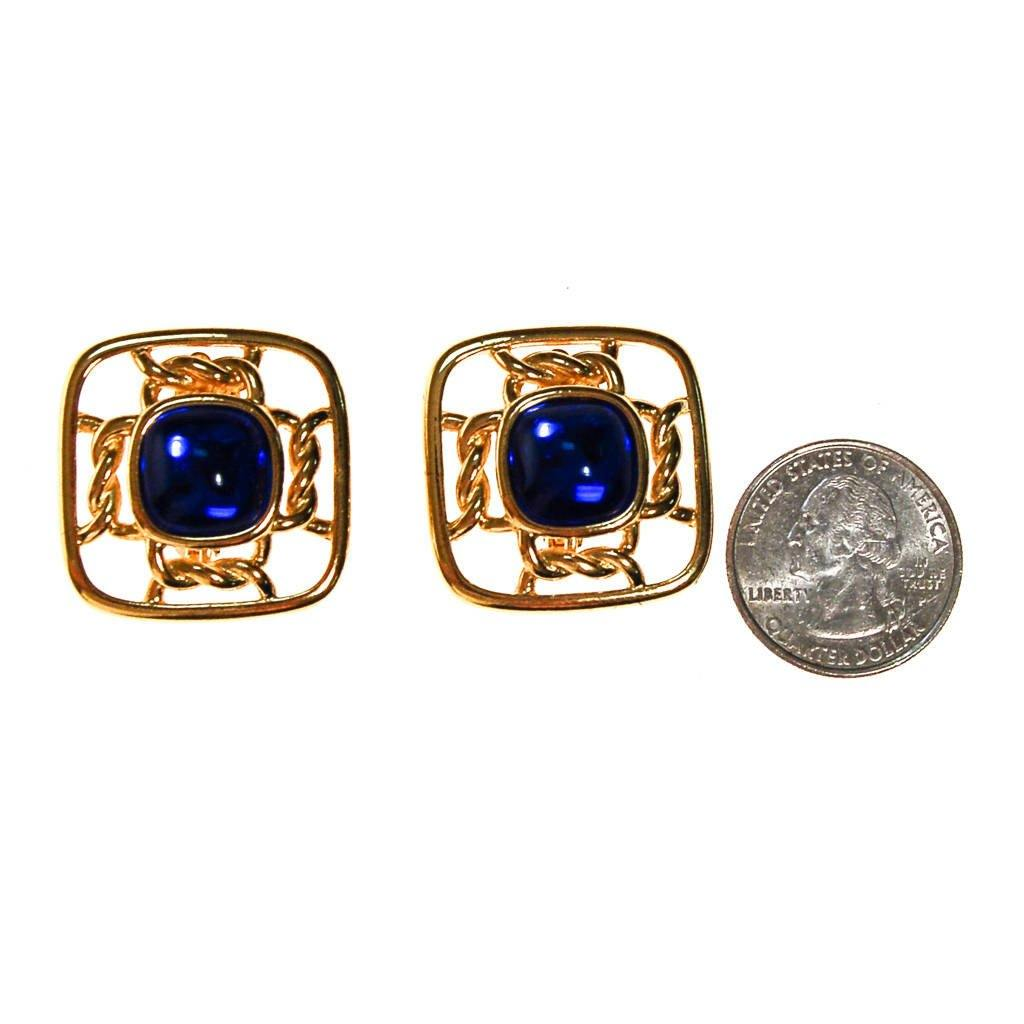 Gold Square with Sapphire Blue Cabochons by Crown Trifari, Earrings - Vintage Meet Modern