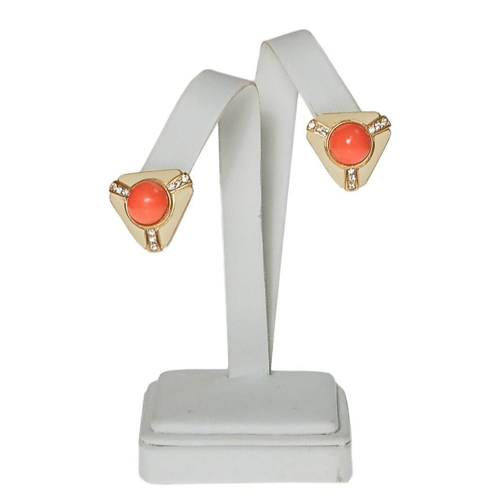 Coral Cabochon, Cream Enamel, Rhinestone Earrings