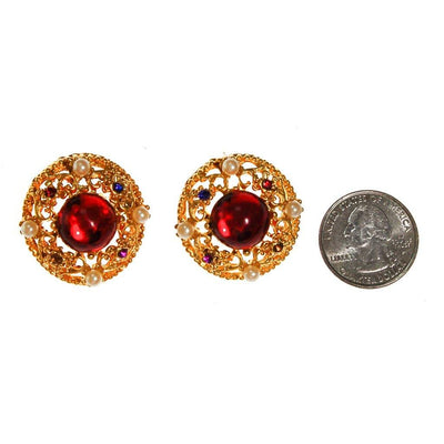 Royal Colors Rhinestone Earrings, Round Gold, Red, Sapphire Blue, Citrine, Amethyst Rhinestones, Faux Seed Pearls by unsigned - Vintage Meet Modern Vintage Jewelry - Chicago, Illinois - #oldhollywoodglamour #vintagemeetmodern #designervintage #jewelrybox #antiquejewelry #vintagejewelry