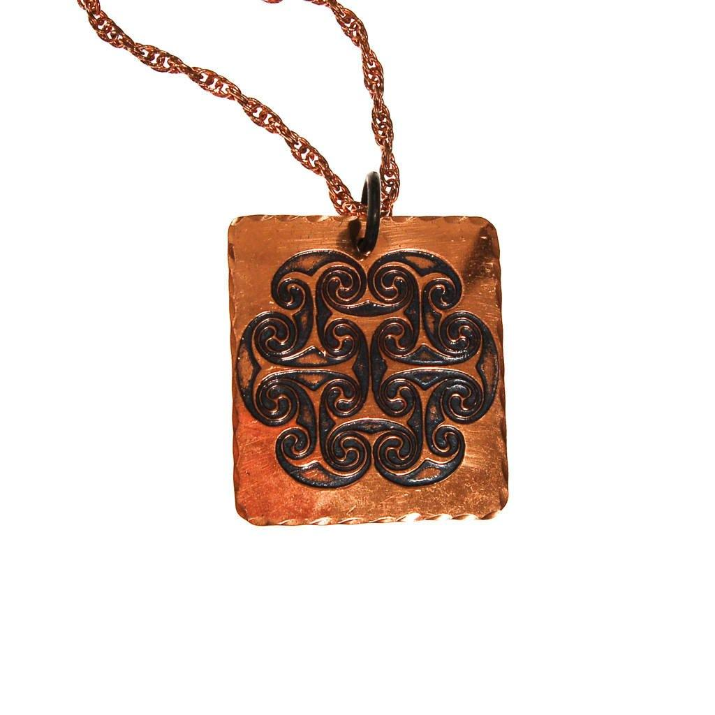 1970s Bohemian Chic Square Copper Pendant Statement Necklace