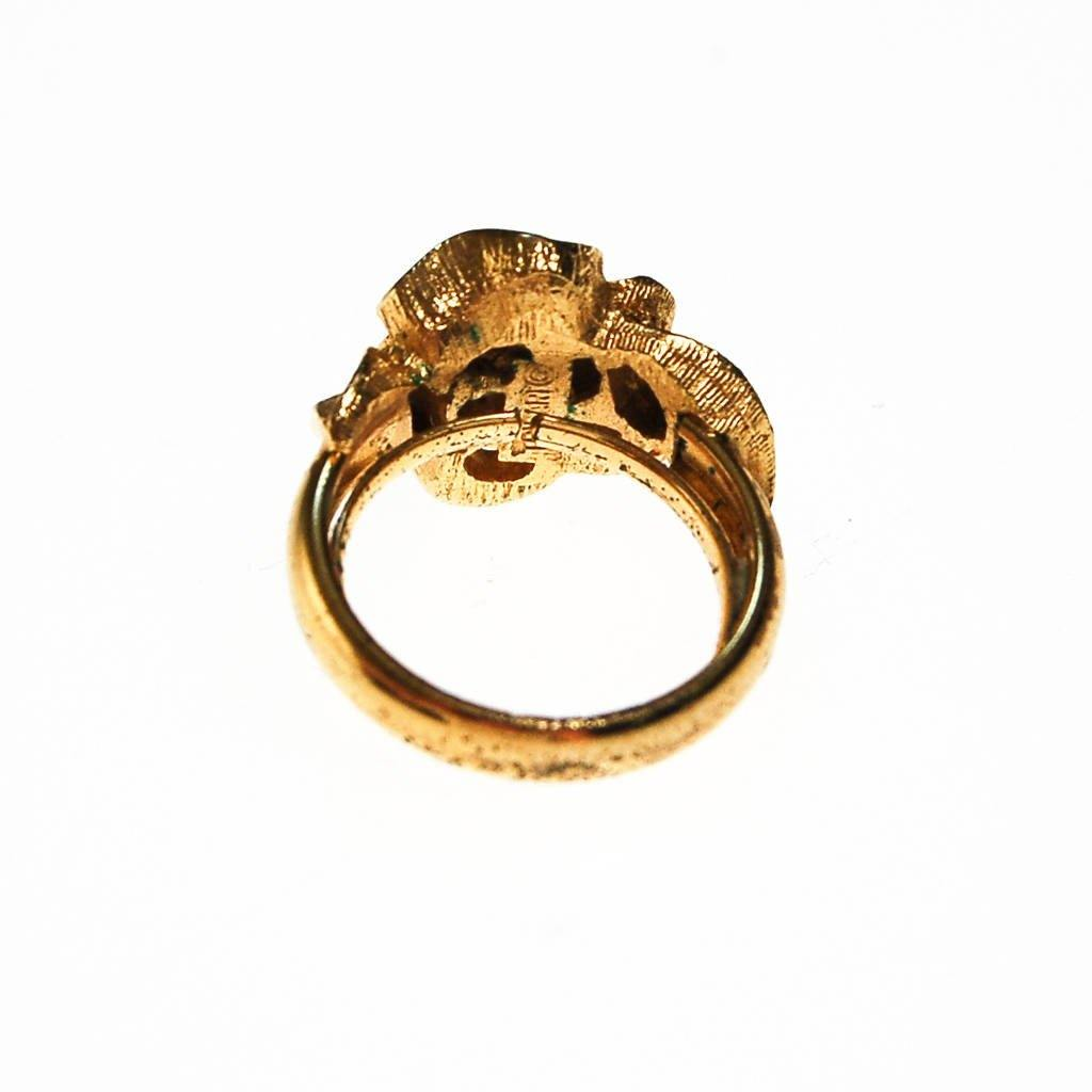 Crown Trifari Ring with Gold Knot