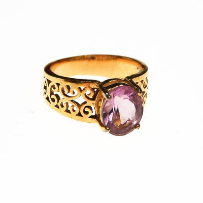 Oval Amethyst Ring, 18kt Gold Plated Band, Filigree Detail by unsigned - Vintage Meet Modern Vintage Jewelry - Chicago, Illinois - #oldhollywoodglamour #vintagemeetmodern #designervintage #jewelrybox #antiquejewelry #vintagejewelry