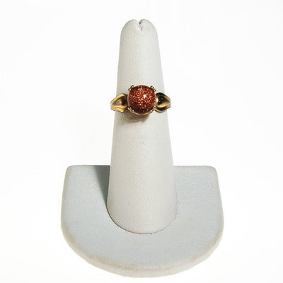 Goldstone Bead Ring, Gold Tone by unsigned - Vintage Meet Modern Vintage Jewelry - Chicago, Illinois - #oldhollywoodglamour #vintagemeetmodern #designervintage #jewelrybox #antiquejewelry #vintagejewelry