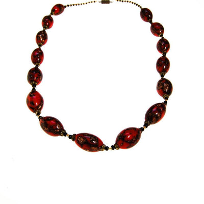 Red Venetian Glass Bead Necklace, Goldstone Beads by unsigned - Vintage Meet Modern - Chicago, Illinois