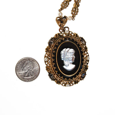 West Germany Black and White Cameo Pendant Necklace by unsigned - Vintage Meet Modern - Chicago, Illinois