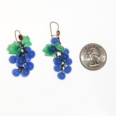 Blue Glass Grape Earrings by 1940s - Vintage Meet Modern Vintage Jewelry - Chicago, Illinois - #oldhollywoodglamour #vintagemeetmodern #designervintage #jewelrybox #antiquejewelry #vintagejewelry