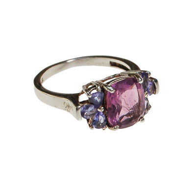 Amethyst and Tanzanite Gemstone Ring, Sterling Silver by unsigned - Vintage Meet Modern Vintage Jewelry - Chicago, Illinois - #oldhollywoodglamour #vintagemeetmodern #designervintage #jewelrybox #antiquejewelry #vintagejewelry