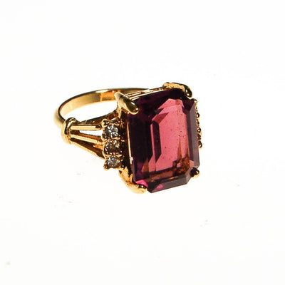 Amethyst CZ Cocktail Statement Ring, Emerald Cut, Gold Plated, CZ Accent Stones by unsigned - Vintage Meet Modern - Chicago, Illinois