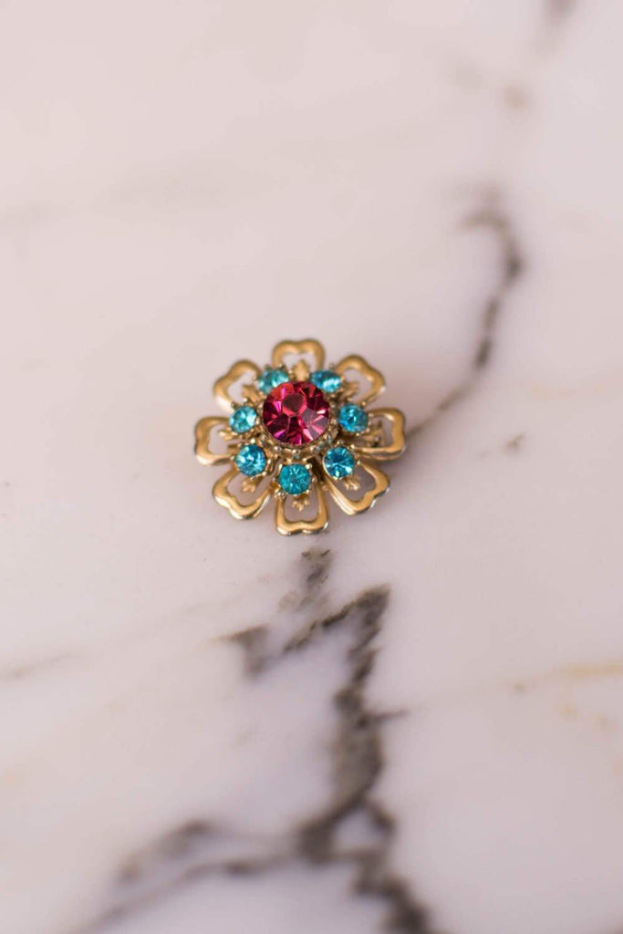 Pink and Turquoise Blue Rhinestone Flower Brooch
