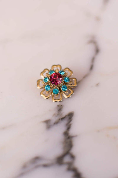 Pink and Turquoise Blue Rhinestone Flower Brooch by 1950s - Vintage Meet Modern Vintage Jewelry - Chicago, Illinois - #oldhollywoodglamour #vintagemeetmodern #designervintage #jewelrybox #antiquejewelry #vintagejewelry
