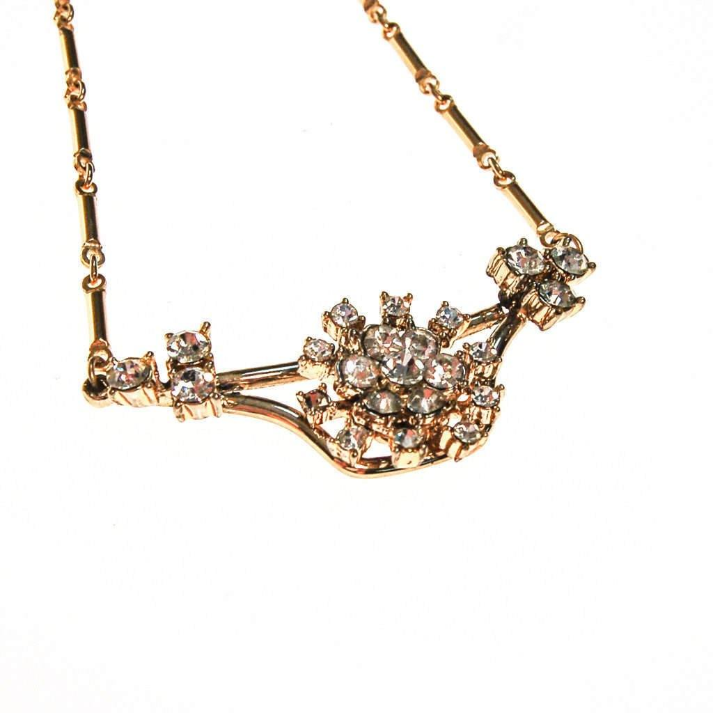 Vintage Rhinestone Pendant Necklace in Gold Tone