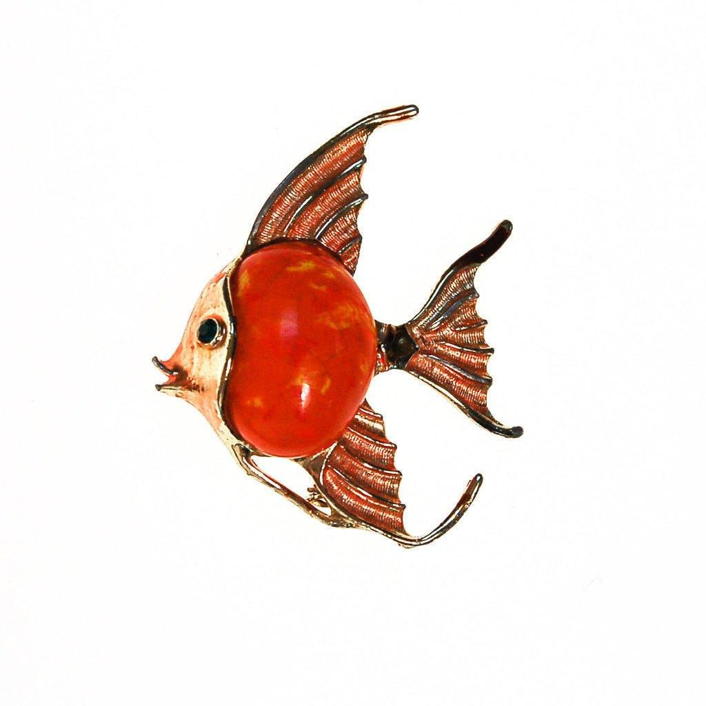Orange Tropical Fish Brooch
