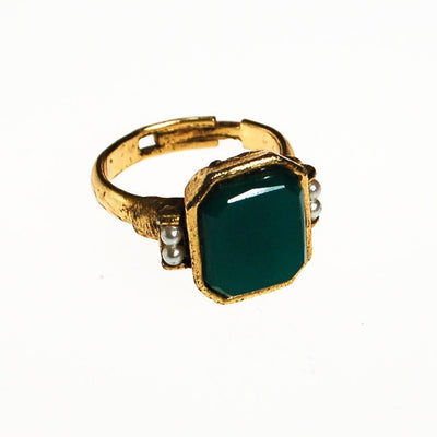Emerald Green Ring with Pearls, Gold tone, Victorian Revival by unsigned - Vintage Meet Modern Vintage Jewelry - Chicago, Illinois - #oldhollywoodglamour #vintagemeetmodern #designervintage #jewelrybox #antiquejewelry #vintagejewelry