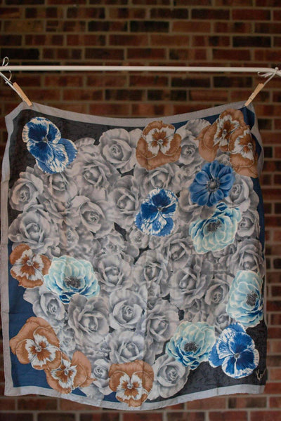 Kenzo Floral Silk Scarf, Gray, Black, White, Tan, Blue, Square Shape by Kenzo - Vintage Meet Modern - Chicago, Illinois