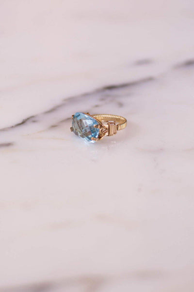 Faceted Blue Topaz Ring by Blue Topaz - Vintage Meet Modern Vintage Jewelry - Chicago, Illinois - #oldhollywoodglamour #vintagemeetmodern #designervintage #jewelrybox #antiquejewelry #vintagejewelry