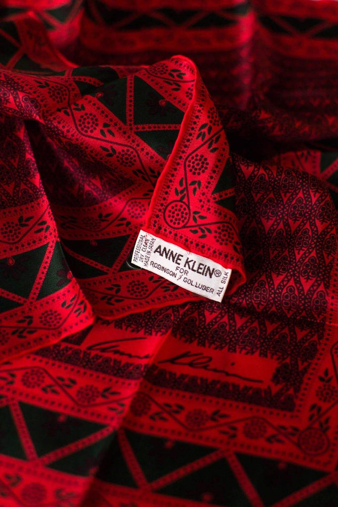 Anne Klein Red and Green Silk Scarf