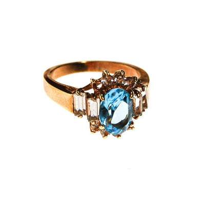 Blue Topaz and CZ Statement Ring by unsigned - Vintage Meet Modern Vintage Jewelry - Chicago, Illinois - #oldhollywoodglamour #vintagemeetmodern #designervintage #jewelrybox #antiquejewelry #vintagejewelry