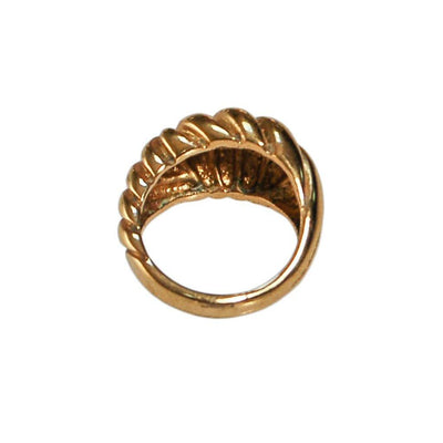 Gold Cable Style Dome Statement Ring by unsigned - Vintage Meet Modern - Chicago, Illinois