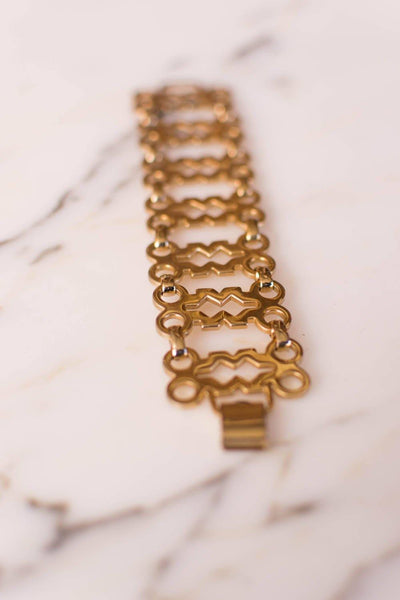 Gold Geometric Wide Link Panel Bracelet by Sperry by Sperry - Vintage Meet Modern Vintage Jewelry - Chicago, Illinois - #oldhollywoodglamour #vintagemeetmodern #designervintage #jewelrybox #antiquejewelry #vintagejewelry