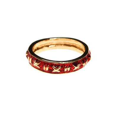 Red Enamel Ring Stacking Ring set Gold Tone by Unsigned Beauty - Vintage Meet Modern Vintage Jewelry - Chicago, Illinois - #oldhollywoodglamour #vintagemeetmodern #designervintage #jewelrybox #antiquejewelry #vintagejewelry